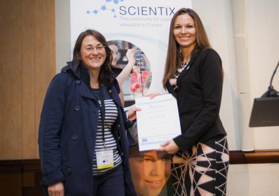 Laura Tamassia (Teacher Education Department, KHLim, Belgium) receives the Scientix award